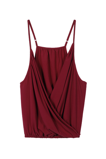 Deep V Cami Top In Claret