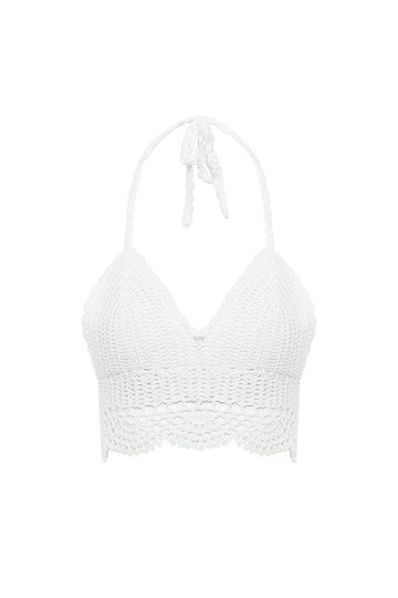 Bianco Halter Bralet In Mano all'uncinetto
