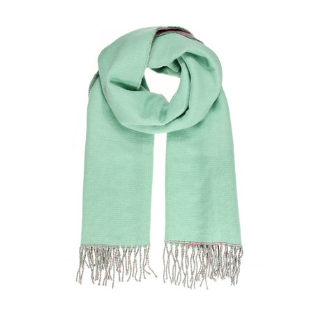 Tassels Scarf with Contrast Color Block
