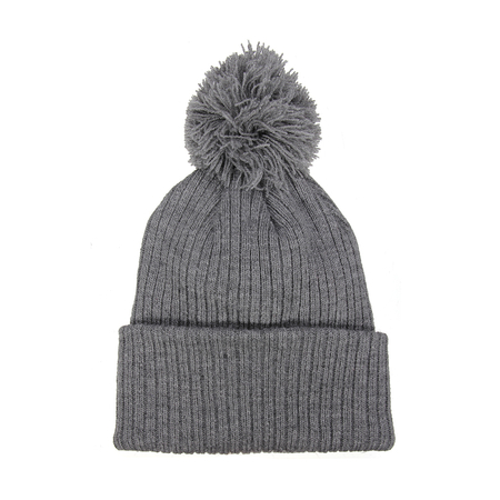 Beanie Hat with Faux Fur Pom