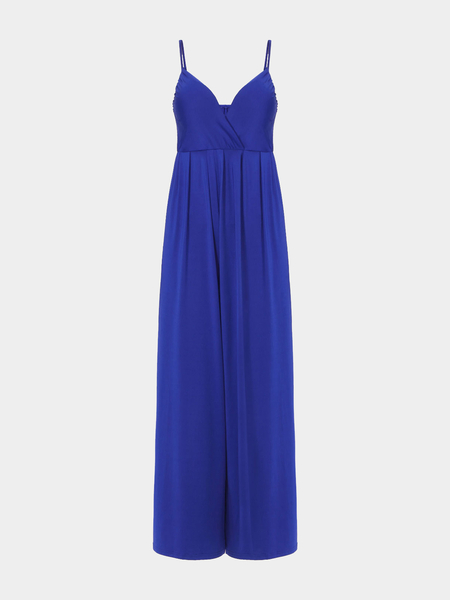 Bretelles spaghetti jambe large Jumpsuit In Blue