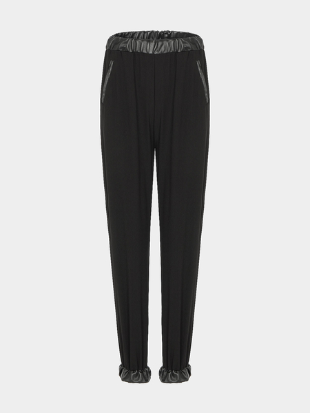 Chiffon Relaxed Trousers With Leather Look Trims