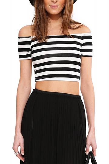 Stripe Off Shoulder Crop Top