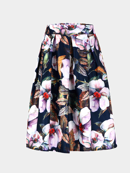 Pleated Floral Print Full Skirt With High-Rise Waist