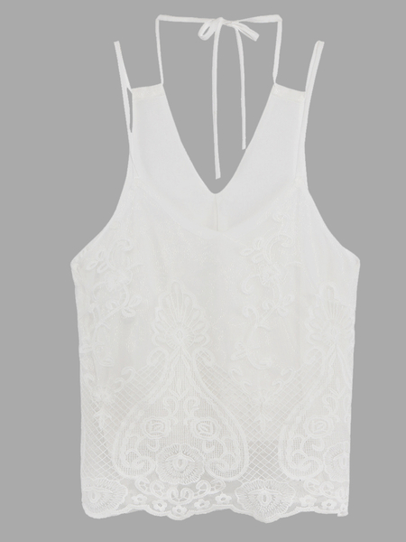 Floral-Embroidered Mesh Lace Cami