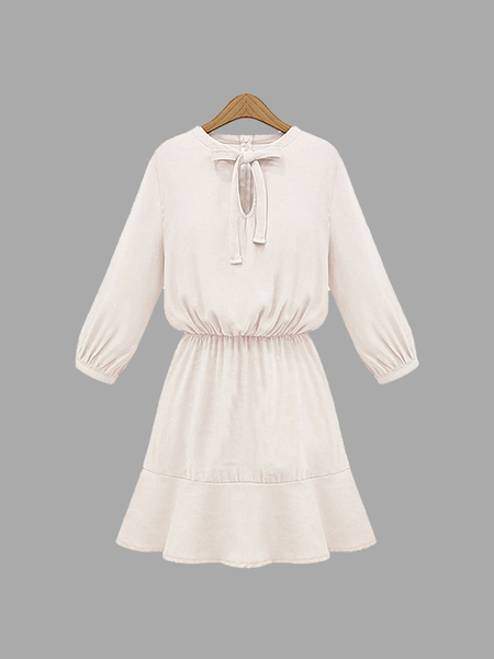 Plus Size Bow Knotted Dress In White