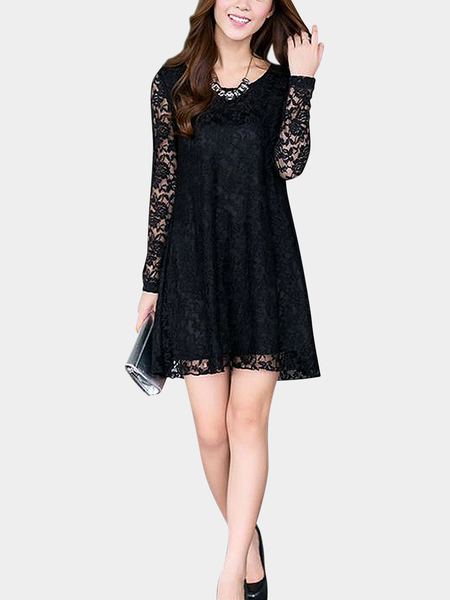 Plus Size Black Crochet Lace Dress