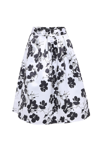 Full A-line Midi Skirt With Floral Print