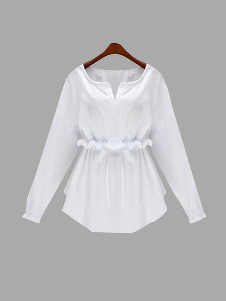 Plus Size White Long Sleeve Flounced Blouse With Drawstring