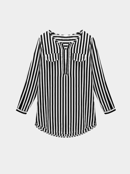 Plus Size Black Vertical Striped Shirt