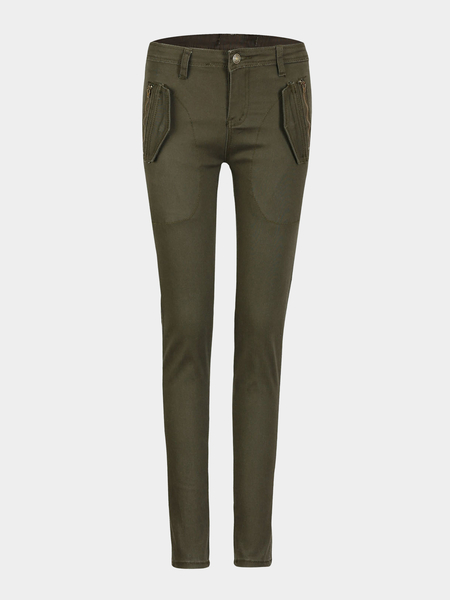 Skinny Trousers in Army Green