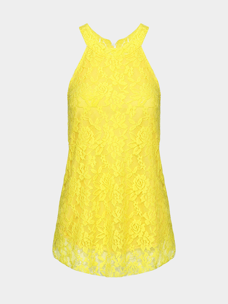 Yellow Lace Vest With Halter Neck