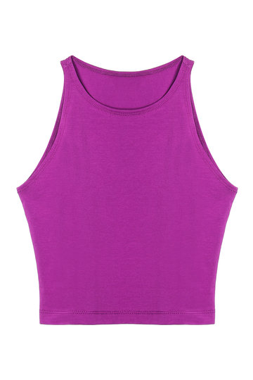 Purple Crop Top With Crew Neck