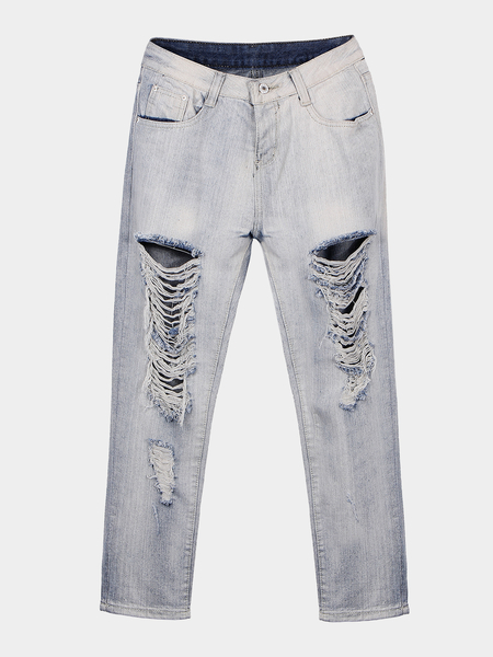 Mom Jeans With All Over Rips & Distressing Detail