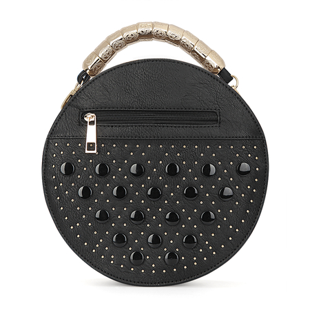 Black Leather-Look Round Handle Bag avec Button et Rivet Embellissement