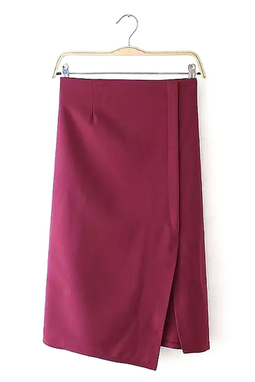 Burgundy Irregular Pencil Skirt with Side Split