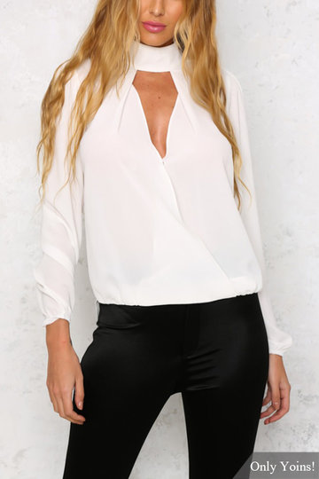 White Sheer-through High Neck Long Sleeves Hollow Top