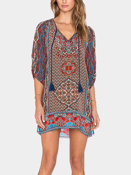 Retro Print Shift Dress With Self-Tie Neck