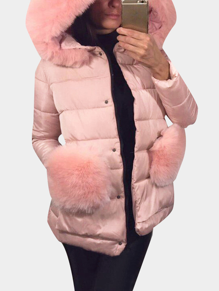Pink Zipper Front Hooded Coat