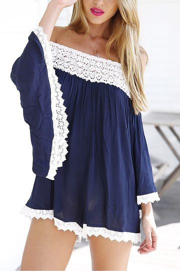 Navy Long Sleeve Off The Shoulder Playsuit