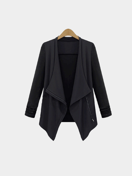 Plus Size Slim Trench Coat with Waterfall Front