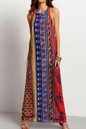 Fashion Sleeveless Vertical Patterned Maxi Dress