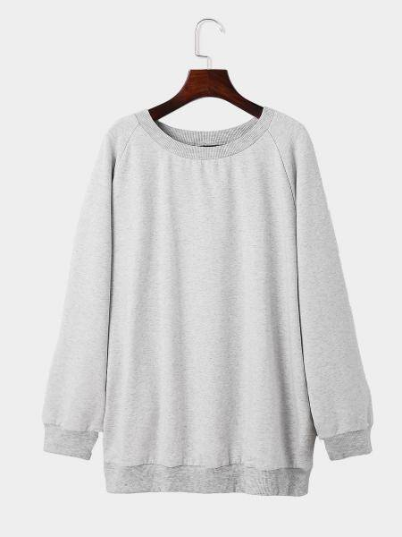 Grey Round Neck Long Sleeves Casual Sweatshirt