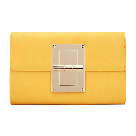 Yellow Leather-look Gold-tone Metal Clutch Bag with Shoulder Strap