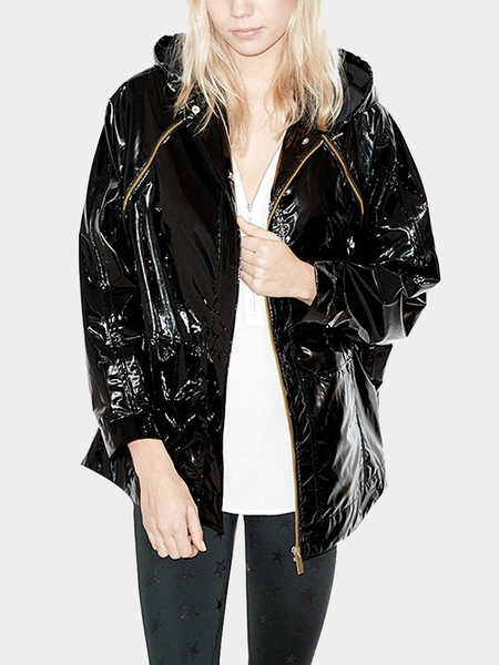 Black Hooded Zipper Design Hooded Patent Leather Jacket Coat