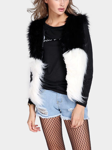 Fur Vest in Black with White Contrast