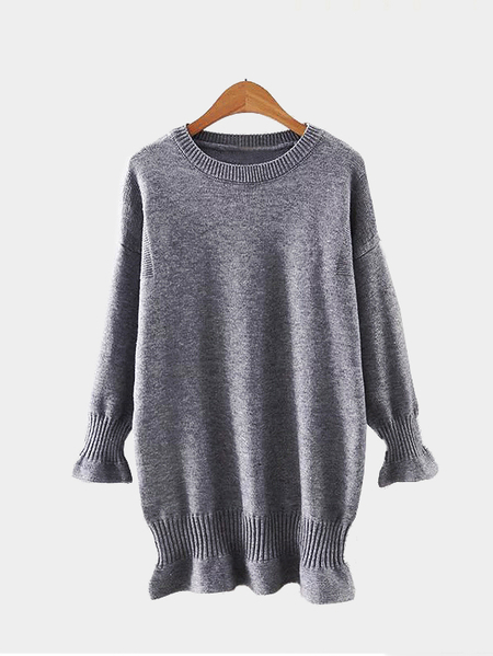Fashion Grey Round Neck Long Sleeves Jumper