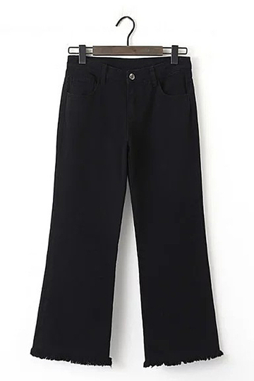 Fringed Wide Leg Trousers in Black
