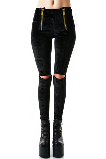 Black Zip Front Velet Leggings with Ripped Knees