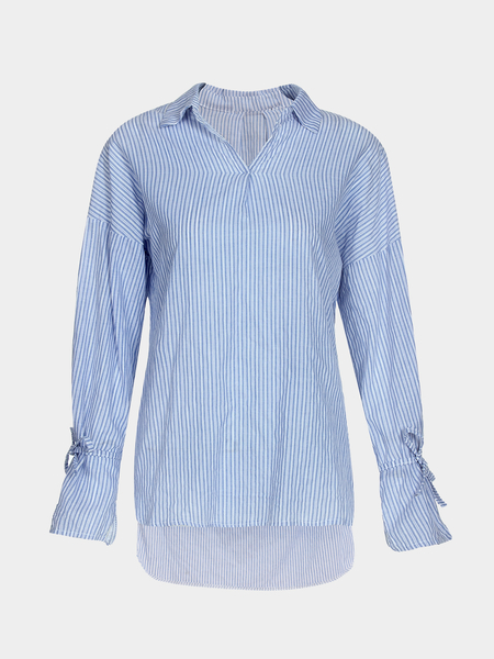 Blue And White Stripe Pattern Pullover Shirt