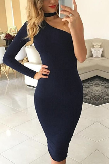 Deep Blue bodycon une épaule Midi Dress