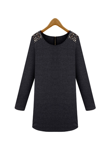 Plus Size Grey Long Sleeve Shoulder Beaded Dress in British Style