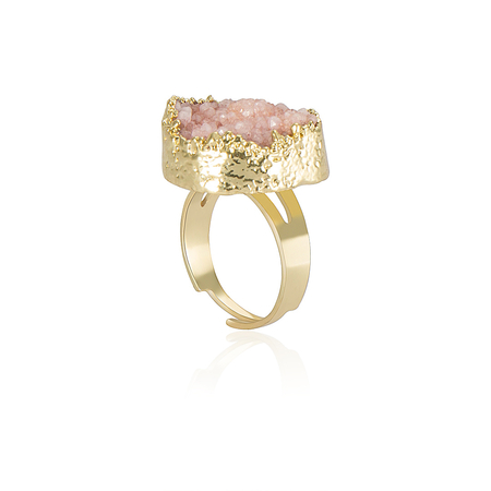 Pink Crystal Cluster Anel