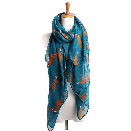 Sea Blue Fox Stampa Voile Scarf