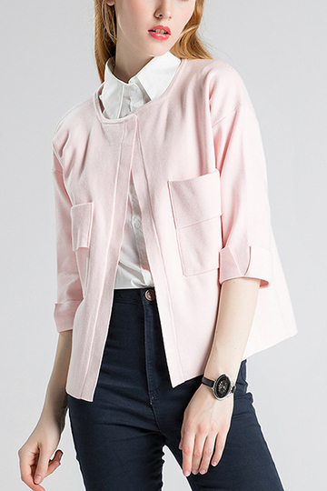 Pink Chest Pocket Open Cardigan