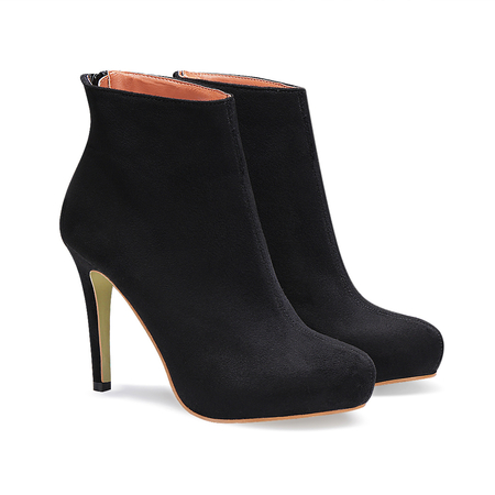 Suede Heeled Ankle Boots in Black