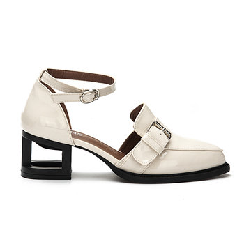 Buy Apricot Leather Look Ankle Strap Hollow Heel Buckle Shoes