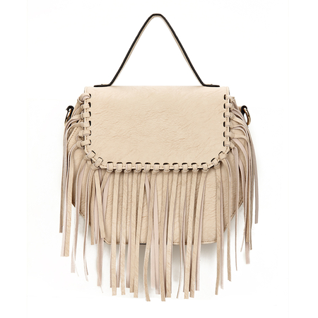 Octagon Couro-olhar atado Fringe Flap Top Handle Bag in Beige
