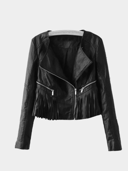 Cropped Leather Biker Jacket with Tassel Details