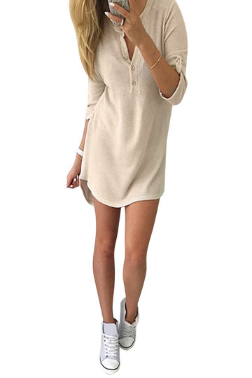 Beige V-neck Knit Long Sleeves T-shirt Dress