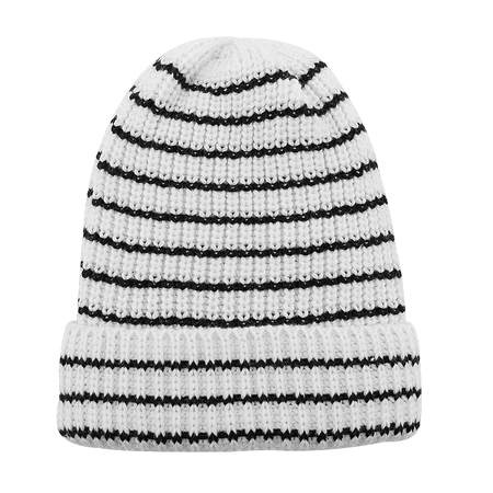 Blanc Stripe Knit Beanie Hat