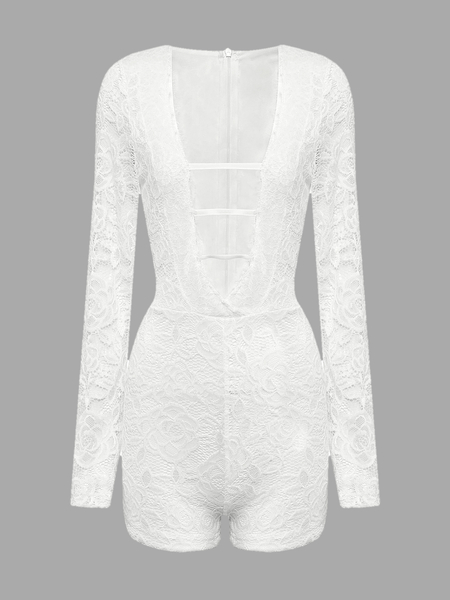 White Lace-Up Plunge V-Neck Lace Romper