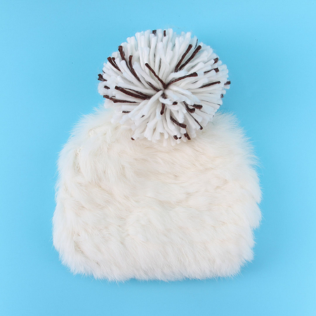 Fluffy Bobble Beanie à White