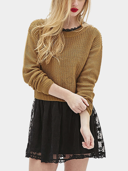 Khaki Round Collar Dropped Shoulder Knit Sweater