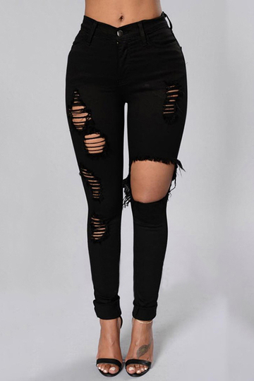 Black Boyfriend Style High Waist Ripped Jeans