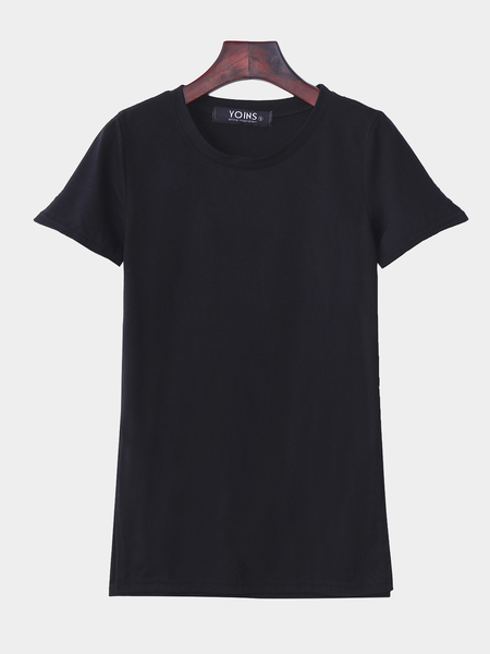 Black Casual Split Side Round Neck Loose T-shirt